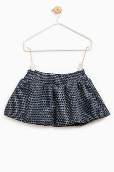 Patterned skirt with pleats, Blue, hi-res