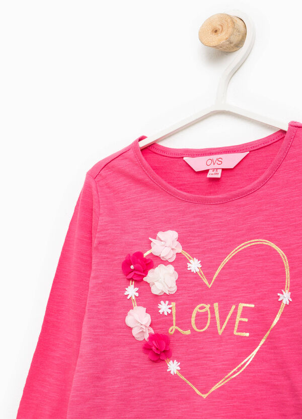 T-shirt with print, flowers and beads | OVS