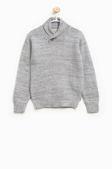 Chunky knit cotton pullover, Grey Marl, hi-res