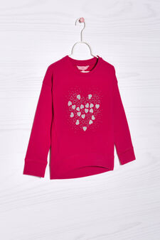 Sequin and glitter stretch sweatshirt, Cherry Red, hi-res
