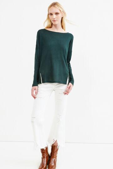 T-shirt a costina con spacchetti, Verde bosco, hi-res