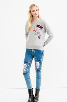 Stretch jeans with patches, Dark Blue, hi-res