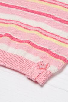 Striped cotton beanie cap, Pink, hi-res
