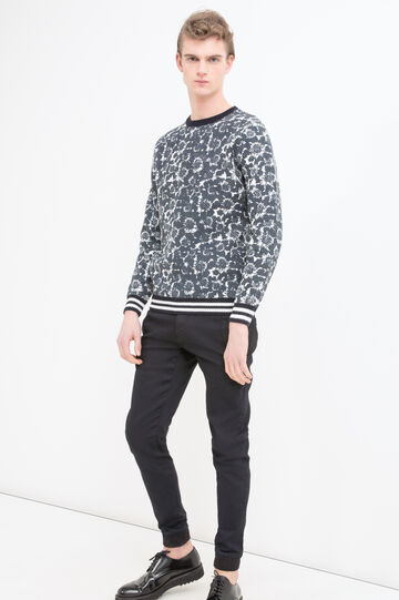 Printed pullover in 100% cotton, White/Blue, hi-res