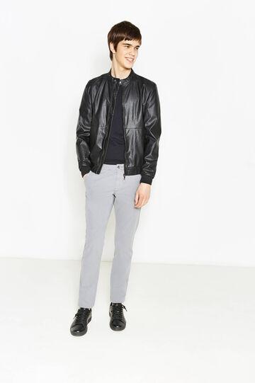 Pantaloni chino regular fit in cotone, Grigio, hi-res