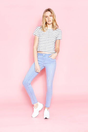 Skinny-fit stretch jeans with abrasions, Soft Blue, hi-res