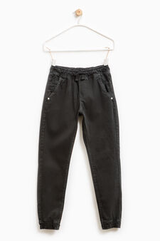 Pantaloni puro cotone con coulisse, Marrone, hi-res