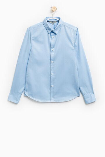 Solid colour 100% cotton shirt, Light Blue, hi-res