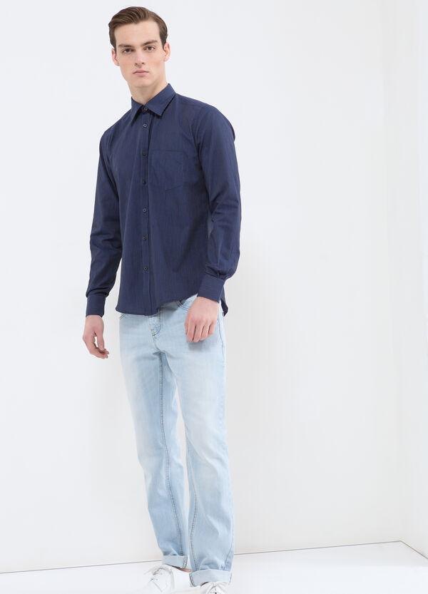Camicia slim fit a righe misto cotone | OVS