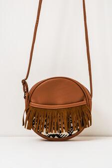 Fringed shoulder bag, Brown, hi-res