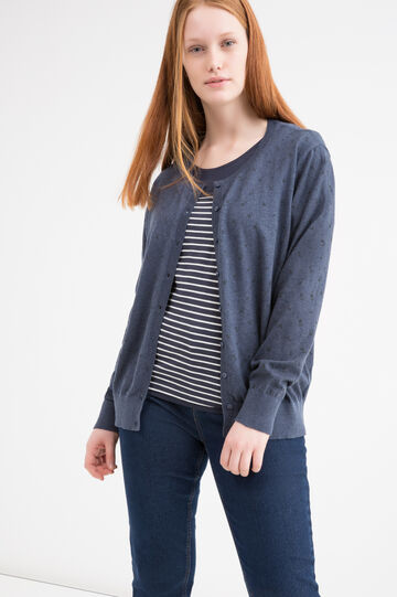 Curvy 100% cotton cardigan, Blue Marl, hi-res