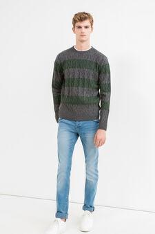 Striped pattern pullover in 100% wool, Dark Grey, hi-res