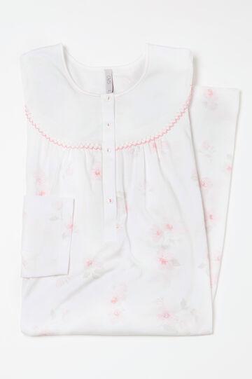 Curvy floral cotton nightshirt, White, hi-res