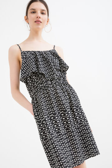 Dress with frills and print, Black/White, hi-res
