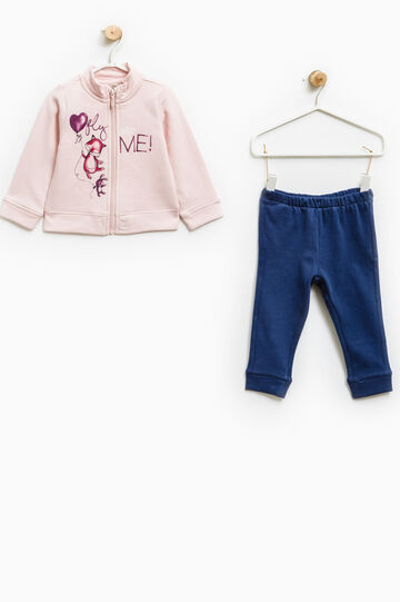 Tracksuit in 100% cotton with print, Blue/Pink, hi-res