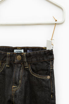 Solid colour straight-fit jeans, Dark Blue, hi-res