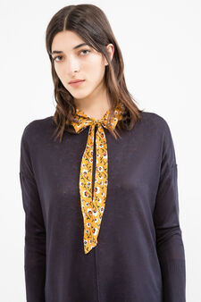 Viscose cotton blend pullover with splits, Blue, hi-res