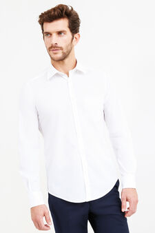 Slim fit cotton blend formal shirt, White, hi-res