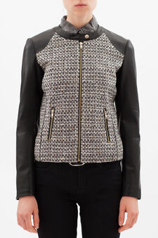 Leather look jacket with central insert, Black, hi-res