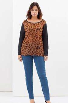 Curvy cotton blend blouse, Multicolour, hi-res