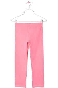 Stretch cotton leggings with rhinestone motif, Fuchsia, hi-res