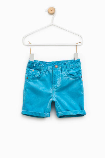 100% cotton Bermuda shorts with turn-ups, Turquoise Blue, hi-res