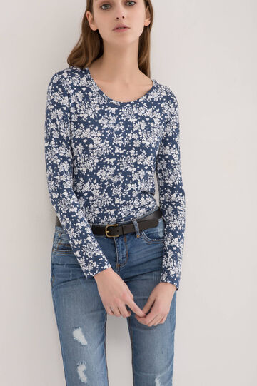 Floral T-shirt in stretch viscose