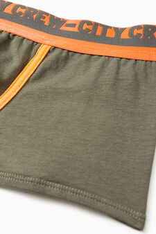 Boxer shorts in stretch cotton with printed lettering, Green, hi-res