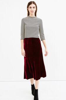 High-waisted velvet longuette skirt, Claret Red, hi-res