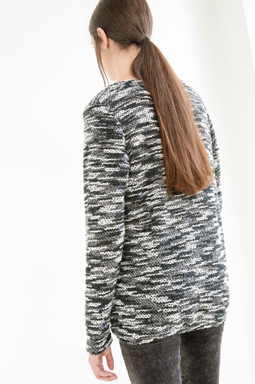 Mélange T-shirt with long sleeves, Black/Grey, hi-res