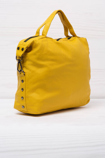 Leather look handbag, Yellow, hi-res