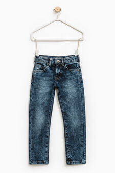 Jeans straight fit effetto maltinto, Blu, hi-res