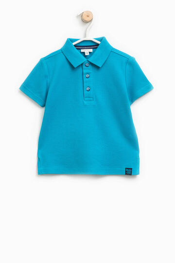 100% cotton polo shirt with patches, Turquoise Blue, hi-res