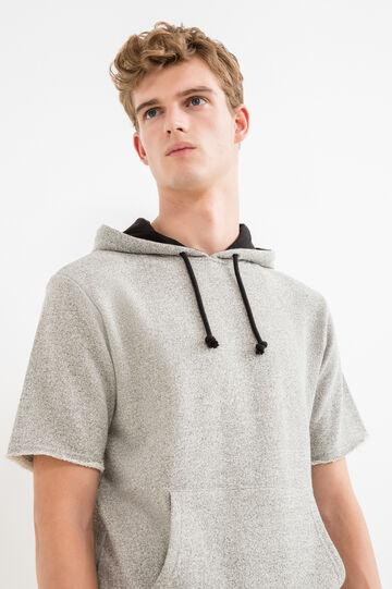 Short sleeved sweatshirt with hood, Grey, hi-res