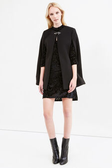 Solid colour stretch viscose cloak, Black, hi-res