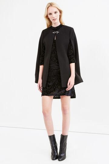 Solid colour stretch viscose cloak, Black, hi-res