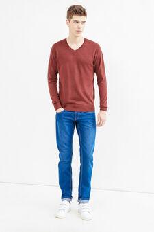 Solid colour V-neck pullover, Claret Red, hi-res