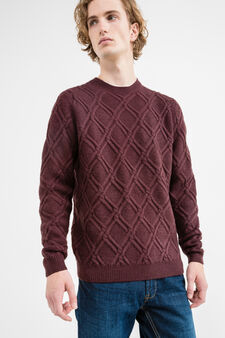 Knitted pullover with round neck, Royal Purple, hi-res