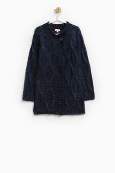Long wool blend sequinned cardigan, Blue, hi-res