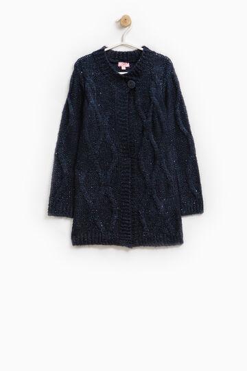 Cardigan lungo misto lana con paillettes, Blu, hi-res