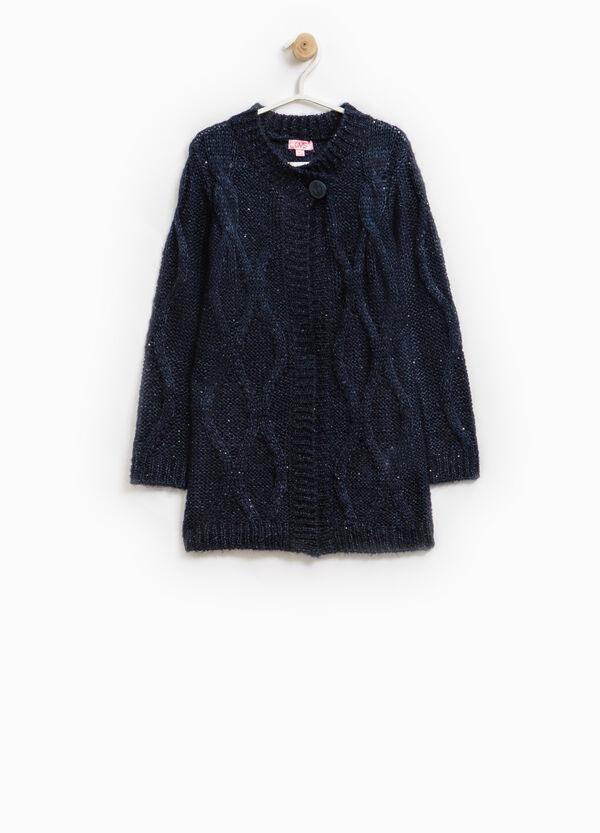Long wool blend sequinned cardigan | OVS