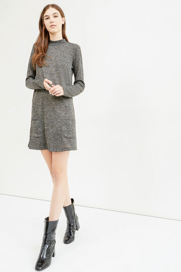 Stretch mélange dress with long sleeves, Dark Grey, hi-res