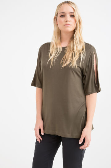 Curvy T-shirt with studs, Army Green, hi-res