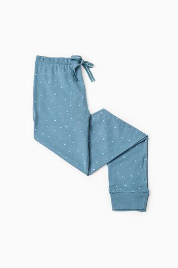 Pantaloni pigiama cotone stampati, Blu, hi-res