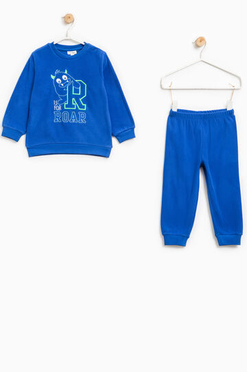 Fleece pyjamas with embroidery, Royal Blue, hi-res