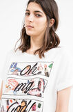 Modal and cotton T-shirt with print, Milky White, hi-res