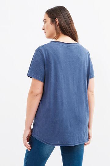 Curvy T-shirt with Minnie Mouse print and diamantés, Blue, hi-res