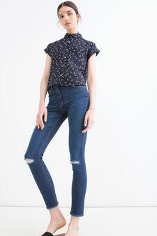 Jeans stretch con strappi, Blu denim, hi-res