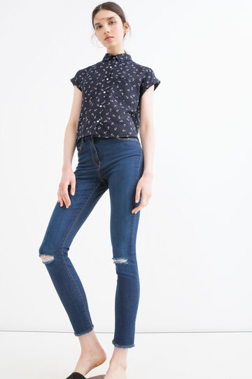 Jeans stretch con strappi, Blu denim, hi-res