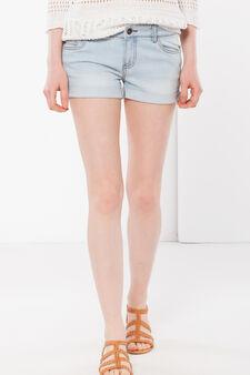 Denim shorts with turn-up hems, Light Wash, hi-res